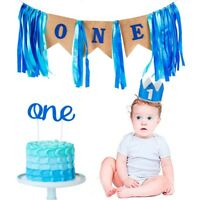 1st Birthday Boy Party Decor Banner Bunting High Chair Supplies Cupcake Topper