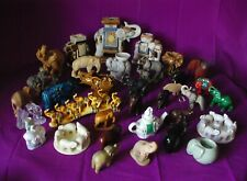 LOT DE 37 GRANDS ELEPHANTS COLLECTION BOIS VERRE CERAMIQUE METAL......