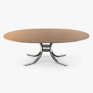 Osvaldo Borsani for Stow Davis Dining Table w/ Walnut Top and Chromed Steel Base