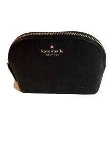 Kate Spade NY Lola Glitter Cosmetic Black Bag NWT/ & Box