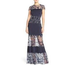 $608 Tadashi Shoji Women's illusion Peony Lace Crepe royal/navy Gown NWT SIZE  6