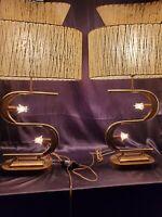 3 switch mid Century mcm majestic S shape lamp pair 2 TIER FIBERGLASS SHADES