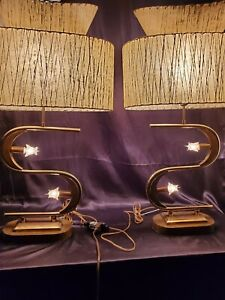 3 switch mid Century mcm majestic S shape lamp pair 2 TIER FIBERGLASS SHADES
