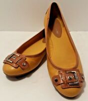 Women's GIANNI BINI Yellow Buckled Flats Sz 10 M Ballet slipons