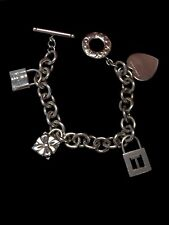 Tiffany & Co. Sterling Silver Charm Bracelet With Gift Lock Charm T Charm Heart