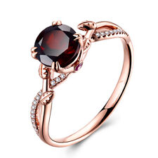 Solid 10K Rose Gold 1.6CT Round 7mm Garnet Diamonds Rubies Gemstone Ring Jewelry