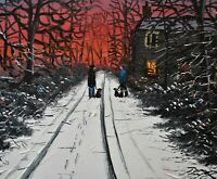 Wonderful James Downie Original Oil Painting - Having A Chat In The Snow