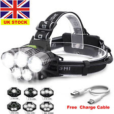 90000LM 5X T6 LED Headlamp USB Rechargeable Head light Flashlight Torch Lamp TP