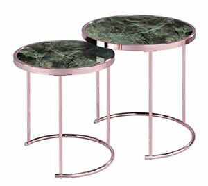 Visio Set of 2 Round Nesting Table, Copper/Brown Marble Glass, 50, 42 Dia