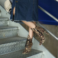 Womens Ladies Lace Up Suede Leopard Ankle Boots Zip High Heels Pointed Toe Shoes