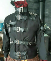 FAB WHITBY/PUNK  STEAMPUNK BUCKLE BONDAGE BLACK JACKET SIZE 10-STRAPS & BUCKLES