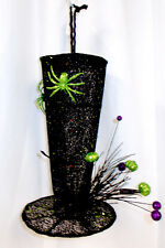 Black Green Glitter Halloween Top Hat Halloween Hanging Tabletop Decor 13.5' NWT