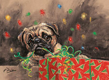 Pug and Present, Christmas cards pack of 10 by Paul Doyle. C473X