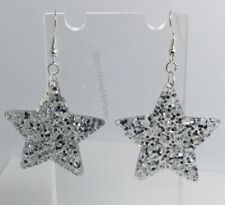 Silver Large Star Glitter Charms Resin Earrings D204 Kitsch 5.5cm Silver Fun