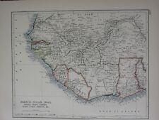 1897 VICTORIAN MAP ~ NORTH WEST AFRICA FRENCH SUDAN WEST SIERRA LEONE LIBERIA