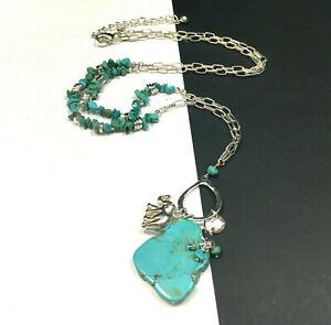 New CHICO'S Silver BOHO Turquoise Pendant Necklace Elephant Charm LONG Q29i