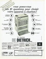 Publicité advertising 118  1966   De Dietrich   charleur poele  charbon