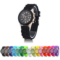 Women Men Geneva Silicone Jelly Gel Quartz Sports Wrist Watch Dressy Colorful