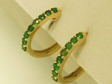 E027 Lovely Genuine 9ct Solid Yellow Gold NATURAL EMERALD HUGGIE Earrings Hoops