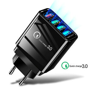 Quick Charge 3.0 4 Ports USB Charger EU Plug Wall Mobile Phone Fast Charger