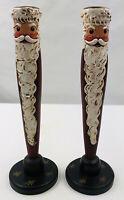 "2 Vtg 'Wooden Nichols' -Santa Candle Holders- 9.5""- Handmade/Painted-Wood/Brass"