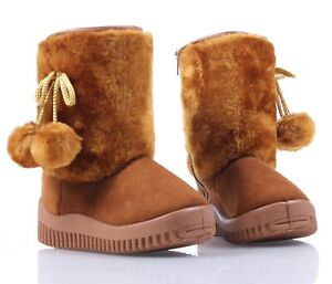 Camel Color Faux Fur Suede Casual Booties Toddler Kids Baby Girls Boots Size 7