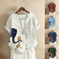 Women's Casual Cartoon Tops Tee O-Neck Loose Button Tunic Shirt Plus Size Blouse