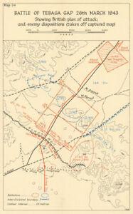Battle of the Mareth Line/Tebaga Gap 26 March 1943. Tunisia WW2 1966 old map
