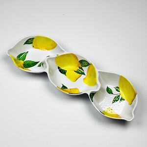 Lemons Lemon Tree Melamine Shaped 3 Section Rectangular Serving Platter Dish