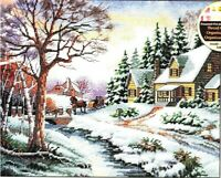 """Dimensions WINTER OUTING Counted Cross Stitch Kit 13691 Christmas 14"""" x 11"""" NEW"""