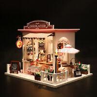 Doll House Wooden Miniature Furniture Modle DIY Kit LED Light Kids Xmas Gifts