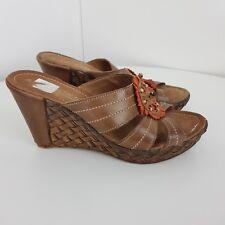 Marco Tozzi Sandals Leather Slip On Brown Size UK 6 EU 39 63334b1c25