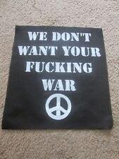 Peace Punk War Back Patch - Riot Grrrl - Horror - Punk - Hardcore.
