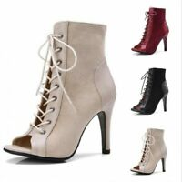Women's Lace Up Stiletto Sandals High Heels Ankle Boots Pumps Peep Toe Shoes New