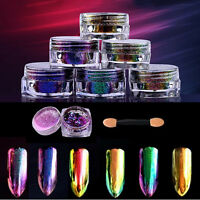 6 Colors Chameleon Mirror Chrome Effect Nail Art Powder Manicure Pigment Glitter
