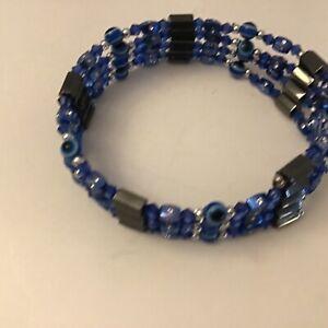 Cobalt blue wrap magnetic bracelet 4 layers when wraped