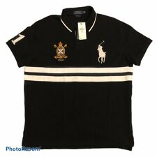 Polo Ralph Lauren Custom Slim Fit Mens XL Black Embroidered Big Pony Crest Shirt
