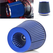 "Steel Mesh Car Cold Air Intake Filter Cleaner 3"" 75mm Dual Funnel Adapter - Blue"