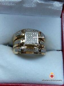 Men Women 2 CT. T.W. Diamond Ring Trio Bridal Set Wedding Band Yellow Gold Over
