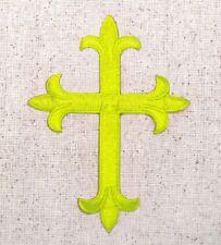 Fleur de lis Cross - Neon Yellow - Religious Iron on Applique/Embroidered Patch