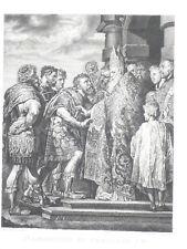 SAINT AMBROISE ET THEODORE 1er Rubens GRAVURE CHINE Masson XIXeme Siecle
