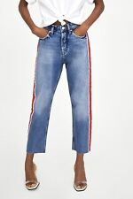 Zara High Waisted  Straight Leg Jeans With Side Striped Size 12 Eur 40