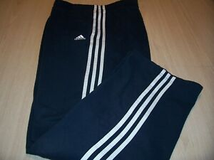 ADIDAS NAVY BLUE W/WHITE STRIPES SWEATPANTS MENS LARGE NICE CONDITION