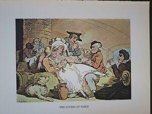 Thomas Rowlandson Georgian c1800 Bawdy Colour Print to Frame THE LOVERS AT TABLE