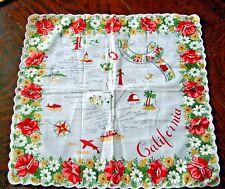 """Vintage California Map Souvenir Handkerchief Floral 13-1/2"""" x 13"""" Unused"""