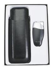 Colibri Quantum Jet Torch Cigar Lighter & Leather 2 Finger Cigar Holder Gift Set