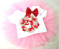 Elmo Sesame Street Red Pink 2nd Second Birthday Girl Headband Tutu Shirt Outfit