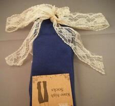 NIP Cotton Spandex MIDNIGHT BLUE Knee High Boot Topper Socks w/ Lace Cuff Trim