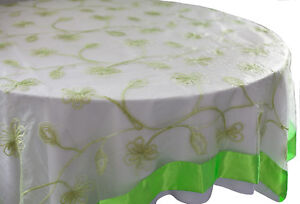 """LIME ORGANZA OVERLAY WITH SATIN BORDER 90"""" X 90"""" BANQUETING EVENTS WEDDING"""