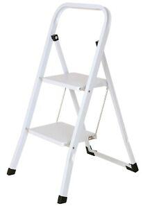 Foldable 2 Step Ladder Stepladder Non Slip Tread Safety Steel Step Home Kitchen